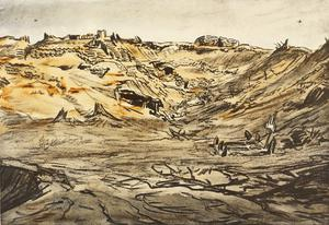 War Drawings By Muirhead Bone: The Quarry near Mouquet Farm