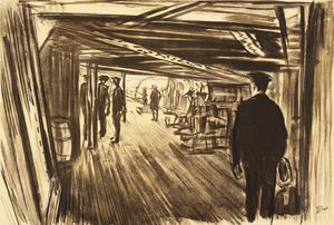 "War Drawings By Muirhead Bone: On board a Battleship: Between Decks (H.M.S. ""Lion"")"