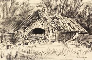 War Drawings By Muirhead Bone:Ruins near Arras