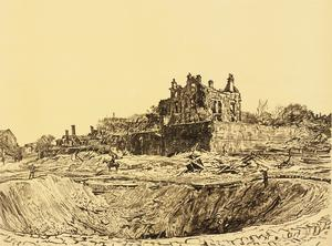 War Drawings By Muirhead Bone: The Great Crater, Athies