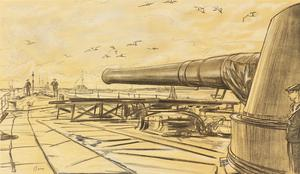 War Drawings By Muirhead Bone: On Board a Battleship: A Gun Turret