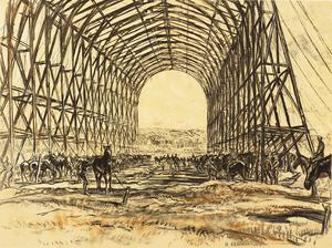 War Drawings By Muirhead Bone: A Stable on the Western Front