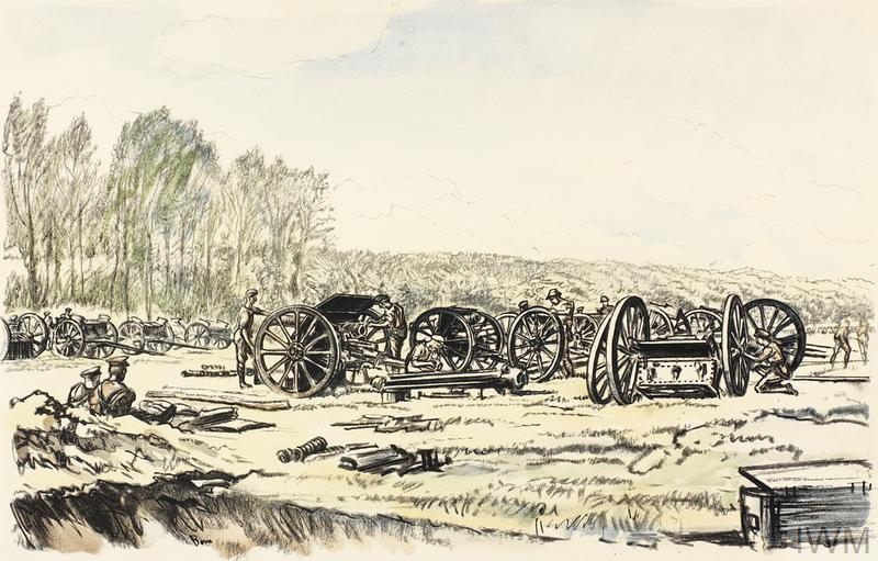 War Drawings By Muirhead Bone: Men of the R.F.A. Cleaning their Guns