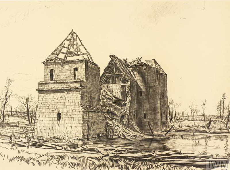War Drawings By Muirhead Bone: Château near Brie on the Somme