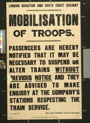 LONDON BRIGHTON AND SOUTH COAST RAILWAY MOBILISATION OF TROOPS
