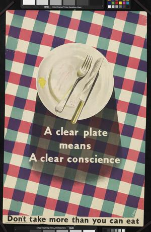 A Clear Plate Means a Clear Conscience - Don't Take More Than You Can Eat
