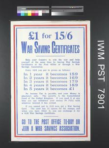 One Pound for 15 Shillings and Sixpence - War Saving Certificates
