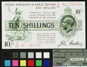 emergency currency, 10 shillings, Great Britain
