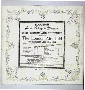 napkin, paper, commemorating air raid on London