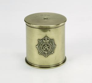 tobacco jar, made from French 75mm shell case, ASC badge