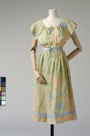 child's sun dress, skirt and top, made from silk escape maps of China