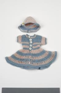 dress, knitted wool, doll's (with matching cap)