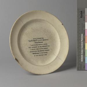 'The War Time Bread and Butter Plate'