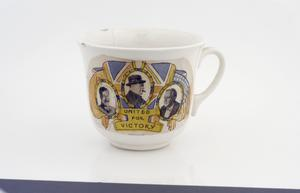 tea cup, with propaganda sticker