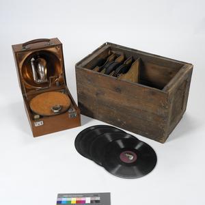 Decca Gramophone & Box of Records