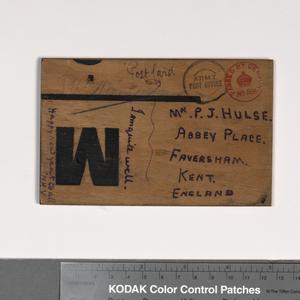 postcard, on wood