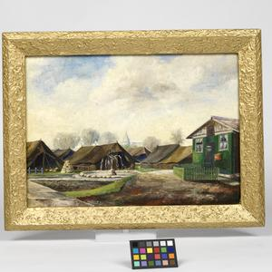 oil painting, view of Boughton POW Camp, Easter 1946