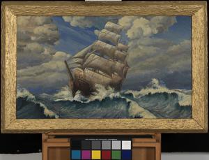 oil painting, sailing ship 'Bucephalus'