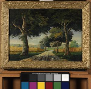 oil painting, 'Sommer in der Pfalz am Rhein, Deutschland'