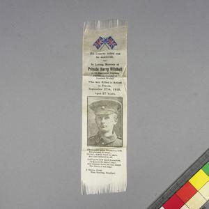 ribbon commemorating Private Harry Mitchell