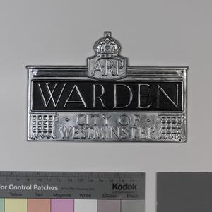 sign, ARP Warden, City of Westminster