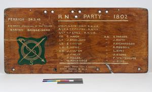 honour board, RN Party 1802 (made from a captured German dinghy)