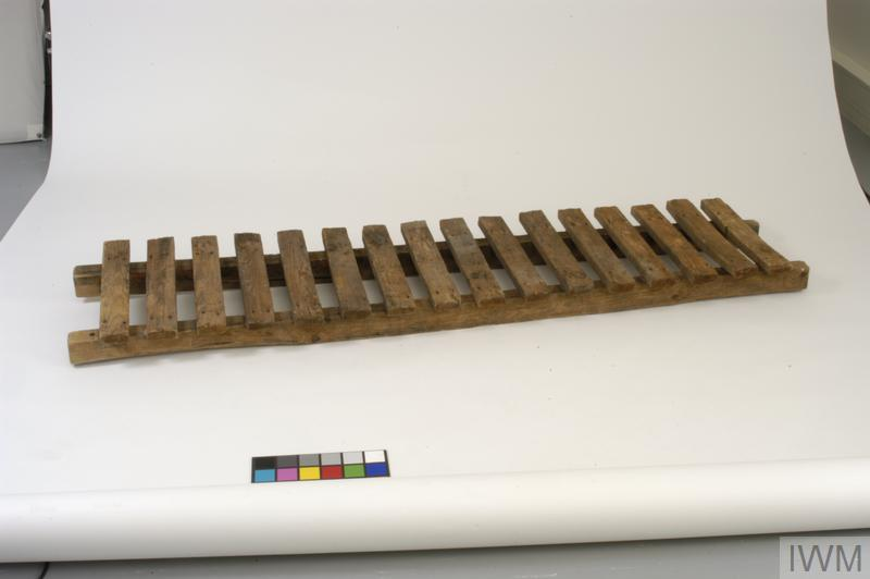British duckboard excavated at Passchendaele; Duckboards were used to cover the sump pits, which were dug into the bottom of British trenches to aid drainage.