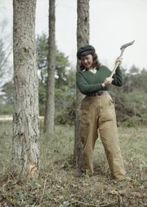 WOMEN'S TIMBER CORPS TRAINING CAMP AT CULFORD, SUFFOLK