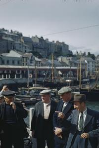 BELGIAN FISHERMEN IN THE BRITISH FISHING VILLAGE OF BRIXHAM, DEVON IN 1944