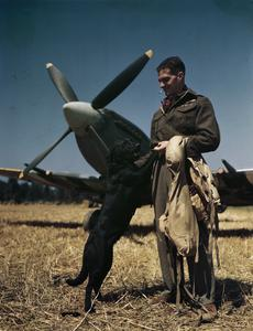 WING COMMANDER JAMES E 'JOHNNY' JOHNSON AT BAZENVILLE LANDING GROUND, NORMANDY, 31 JULY 1944