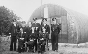 SOME OF THE TECHNICAL OFFICERS ON THE ALLIED NAVAL COMMAND EXPEDITIONARY FORCE WHO WERE RESPONSIBLE FOR THE BASIC PLANNING AND CO-ORDINATION OF THE REPAIR, RECOVERY, AND FUELLING ORGANISATION FOR SHIPS AND CRAFT OPERATING OFF NORMANDY DURING OPERATION OVERLORD
