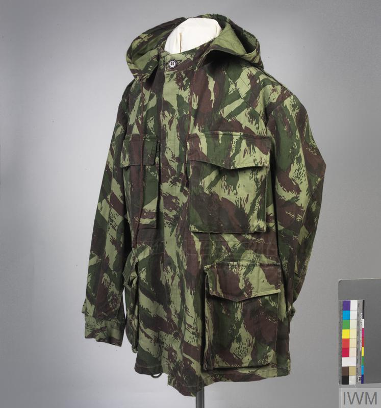 smock, camouflage (Portuguese, 'Lizard 'Pattern)
