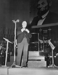 BRITISH PRIME MINISTER TALKS AT THANKSGIVING CELEBRATION, ROYAL ALBERT HALL, LONDON, 23 NOVEMBER 1944