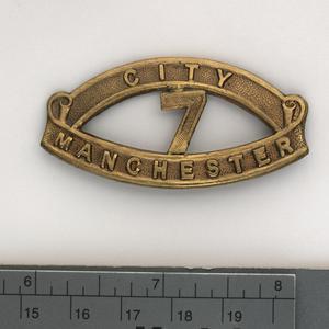 badge, unit, British, shoulder title, 22nd (7th City) Battalion Manchester Regiment ('Manchester Pals'), other ranks