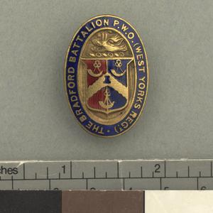 badge, unit, lapel badge, British, 16th Battalion, Prince of Wales's Own (West Yorkshire Regiment) (1st Bradford)