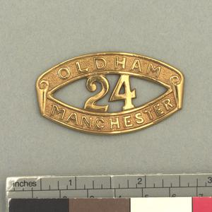 badge, unit, shoulder title, British, 24th Battalion, Manchester Regiment (Oldham) (Pioneers)