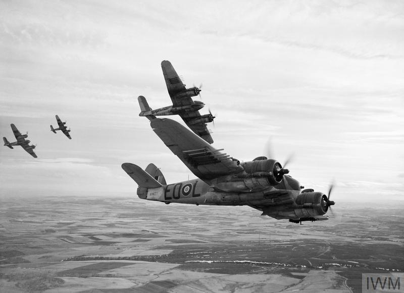 Bristol Beaufighter Mk Xs of No. 404 Squadron RCAF; Bristol Beaufighter Mk Xs of No. 404 Squadron RCAF on a training sortie from Dallachy in Scotland, February 1945. These rocket-armed strike aircraft took part in operations against enemy shipping off the Norwegian coast. As the war progressed, Germany's supplies of iron ore and other strategic materials from neutral Sweden were successfully interdicted by the RAF's anti-shipping squadrons.