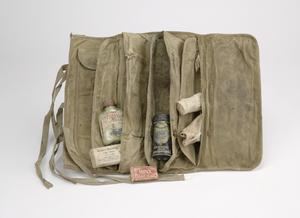 medical and other items in canvas holdall