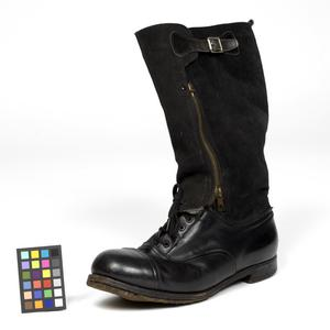 1943 Pattern Black Leather and Sheepskin 'Escape' Boot (L) -
