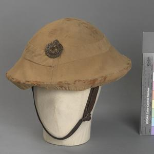 steel helmet, Mk1, with cover and badge, Royal Engineers