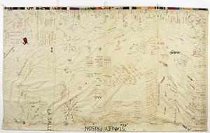 embroidered sheet, Far East Civilian internee