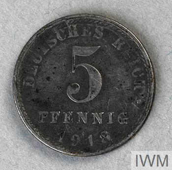 coin, five pfennig, German