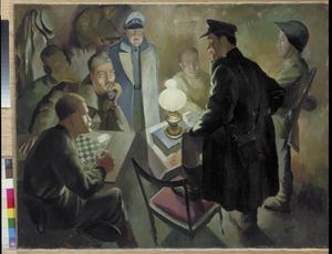 A Captured German Officer being Interrogated by Russian Soldiers