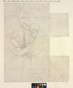 Study for 'Shipbuilding on the Clyde' - Two Men Pulling a Frame from a Furnace