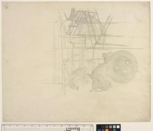 Study for 'Shipbuilding on the Clyde' - Outline of a Punch Machine and a View through the Shed