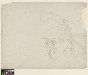 Study for 'Shipbuilding on the Clyde' - Head of a Riveter