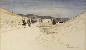 The Good Samaritan Inn, Talaat-ed-Dumm : halfway between Jericho and Jerusalem. The furthest hill with the trees on top is Mount Scopus