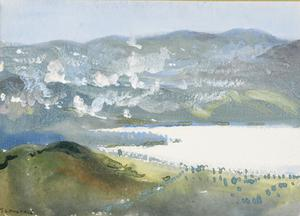 Bombardment of Bulgar Trenches : Doiran, Balkans. Pip Ridge, and Grande and Petite Couronnes. By T C Dugdale, 1917.