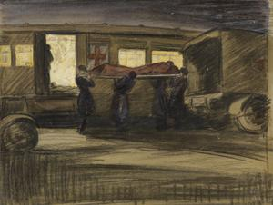 Camiers Siding : a VAD convoy unloading an ambulance train at night after the Battle of the Somme