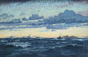 Untitled - Seascape With Convoy and Evening Sky Effect